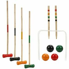 4 Player Complete Croquet Game Set Wooden Outdoor Garden Mallet Ball Hooks Pegs