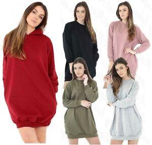 Women's Side Pockets Ladies Oversized Baggy Loose Fit Sweatshirt Top Tunic Dress