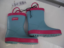 BNWT Little Girls Sz 11 Quality Rivers Doghouse Brand Cute Aqua/Pink Gumboots