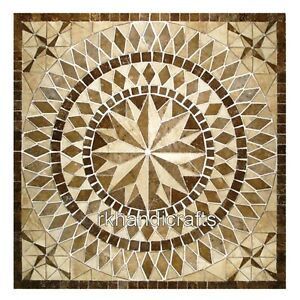 18 x 18 Inches Marble End Table Top Patio Coffee Table with Beautiful Inlay Art