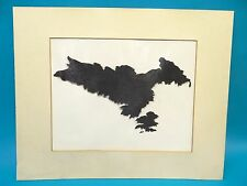 Abstract Modern Signed Anton Black White Ink Blotter Rorschach Glossy Print