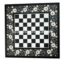 """20"""" Marble Side Chess Table Top Mother of Pearl Floral Inlay Playroom Decor B097"""