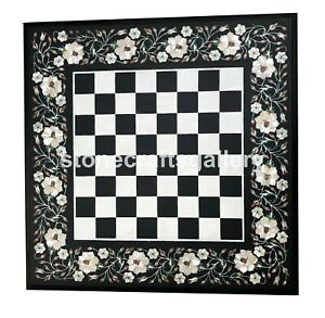 """20"""" Black Marble Coffee Chess Table Mother Of Pearl Inlay Floral Art Decors B097"""