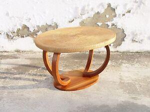 ART DECO MAHOGANY WOOD AND WICKER TABLE
