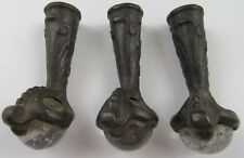 Vintage Antique Victorian Brass Glass Claw Style Furniture Feet Lot of 3