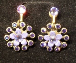 Earrings by Michal Negrin Swarovski Crystals purple Flowers  hand made