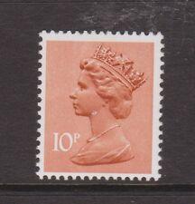 GB QEII Machin definitivo TIMBRO. SG x889ea 10p Arancio-Marrone tipo I LB. Gomma integra, non linguellato