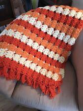 "Vintage Handmade Crocheted Afghan Throw with fringe Orange 64"" X 59"""