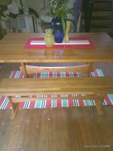 Oak Bench Table Dining