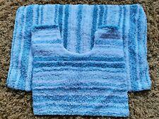 2 Piece Bath Mat Set Blue Aqua/White Striped Soft 💯 Cotton Rug Toilet Pedestal