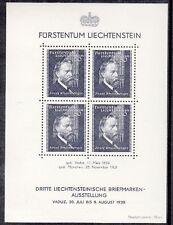 Liechtenstein 1938 Bf 3 3 esposizione filatelica di Vaduz mnh