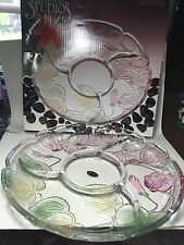 NEW CRYSTAL CLEAR STUDIOS GLASS RELISH TRAY -CASANDRA IN ORIGINAL BOX