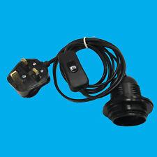 1x E27 3 Pin UK 3A Plug In Light Bulb Holder & Inline Switch Lamp Shade Collar