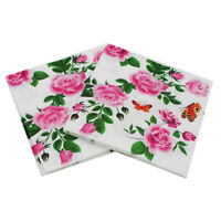 20X Floral paper napkins flower disposable birthday wedding party table decor QP