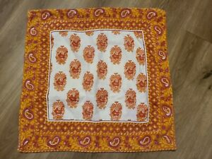 "Pottery Barn ""Orange Paisley"" Reversible 20"" Pillow Cover"