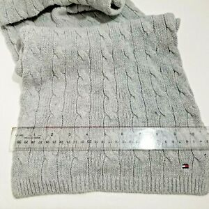 Winter Scarf Men's Cable Knit Tommy Hilfiger MUFFLER Cotton & Cashmere GREY BLUE