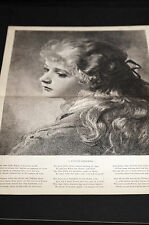 Beautiful Girl Child w Long Hair LITTLE DREAMER 1882 Med. Folio Print w Poem