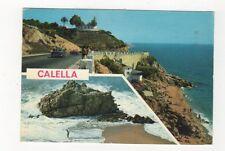 Calella De La Costa Faro y Playa Roca Grossa Spain Postcard 368a ^