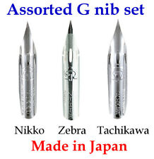 G pen nib Assorted set 1 x Nikko, 1 x Zebra and 1 x Tachikawa Made in Japan