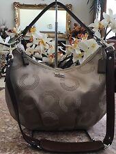 Coach Madison F15929 Op Art Signature Beige Jacquard  Shoulder Handbag Purse EUC