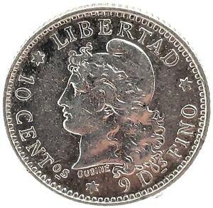 Argentina 1883 GEM BU. 10 Centavos Silver Coin KM #26