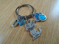 Bag DOG CAT INITIALS PERSONAL BEST FRIEND Paw Print Collar Clip Keyring Gift