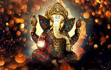 Incorniciato stampa-GOLDEN BRONZE STATUA DI LORD Ganesha (Immagine Buddha Indiano Arte)