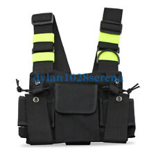 Nylon Adjustable Reflective Stripe 2-Way Radio Pouch Chest Pack Shoulder Straps