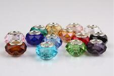 10pcs Mixed SILVER Crystai Glass bead LAMPWORK Fit European Charm Bracelet