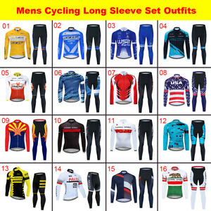 Men's Team Cycling Jersey Set Long Sleeve Shirt Pants Kits Bike Uniforms Tights