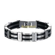 Stainless Steel and Silicone Bangle Bracelet