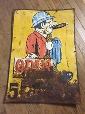 Large ODIN 5¢ Cigar Embossed Advertising Tin Sign ~ TB8