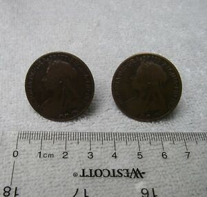 Vintage English VICTORIAN COPPER LARGE PENNY CUFFLINKS-Homemade-NR
