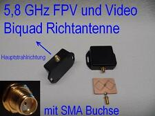 5,8 GHz 11dBi FPV Video Biquad Richtantenne Diversity SMA Gehäuse ABS IP54