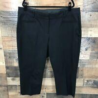 Lane Bryant The Allie Women's Black Flat Front Cropped Trouser Pants Size 20