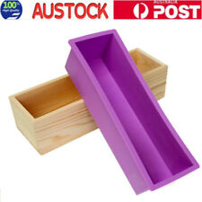 Wood Loaf Soap Mould with Silicone Mold Cake Making Wooden Box OZ