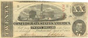 Confederate States $20 Dollars CR-423 Currency Banknote 1863 AU/UNC
