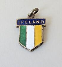 Vintage  IRELAND Sterling Silver Enamel Travel Shield Charm