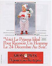 PUBLICITE ADVERTISING 094 1989 MONOPRIX pyjama pour enfants