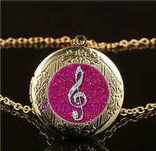 Diamond musical note Cabochon Glass Gold Plating Locket Pendant Necklace