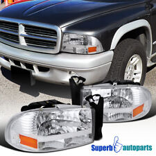 For 1997-2004 Dodge Dakota Head Lights W/Bumper Signal Pair Replacement