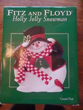 Fitz And Floyd Holly Jolly Snowman Canape Plate New
