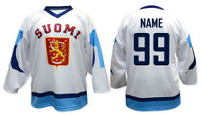 Team Finland White Retro Ice Hockey Jersey Custom Name and Number
