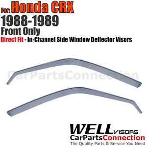 Wellvisors In-Channel Window Visors Deflector Guard 2Pcs For Honda CRX 1988-1989