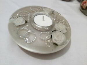 GLASS CANDLE HOLDER HAND MADE FLORAL DESIGN (Wedding Light) Medium