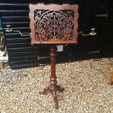 More details for antique victorian gothic duet music stand with brass candle holders