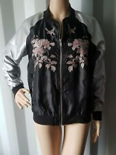 New Women Satin  Black/Silver Embroidered  Jacket from ex High Street Size: 12