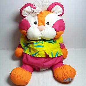 Vtg Fisher Price Puffalump Tiger Plush Cat Orange Wild Thing Hawaiian Shirt 1987
