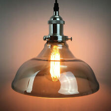 Modern Smoke Grey Glass Ceiling Lamp Shade Pendant Light Chandeliers Fitting
