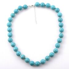 LARGE 12 mm Turquoise HOWLITE BEAD Necklace knotted in 925 Silver extender 18+2